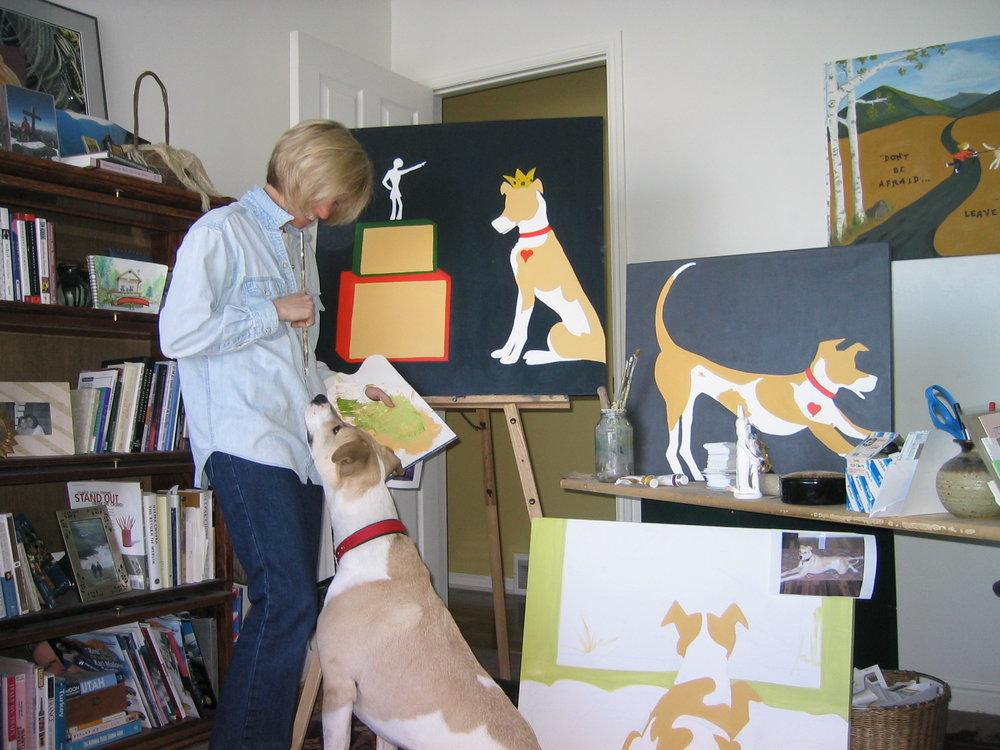 Corinne painting Rudy.jpg