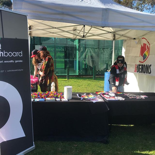 At the MCG with @switchboard_victoria and @saints_pride66. Come and say hi! #WelcomeGame