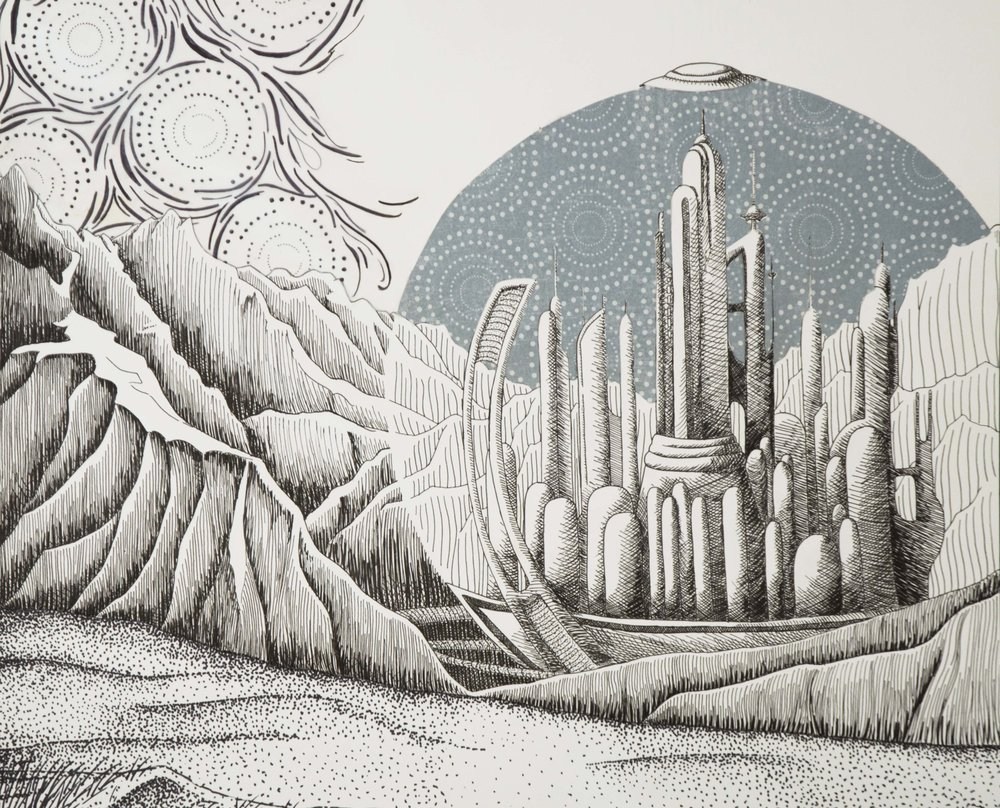 """Rendition of Gallifrey, Doctor Who""  Ink and patterned paper on Bristol board 24x18"" September 2014"