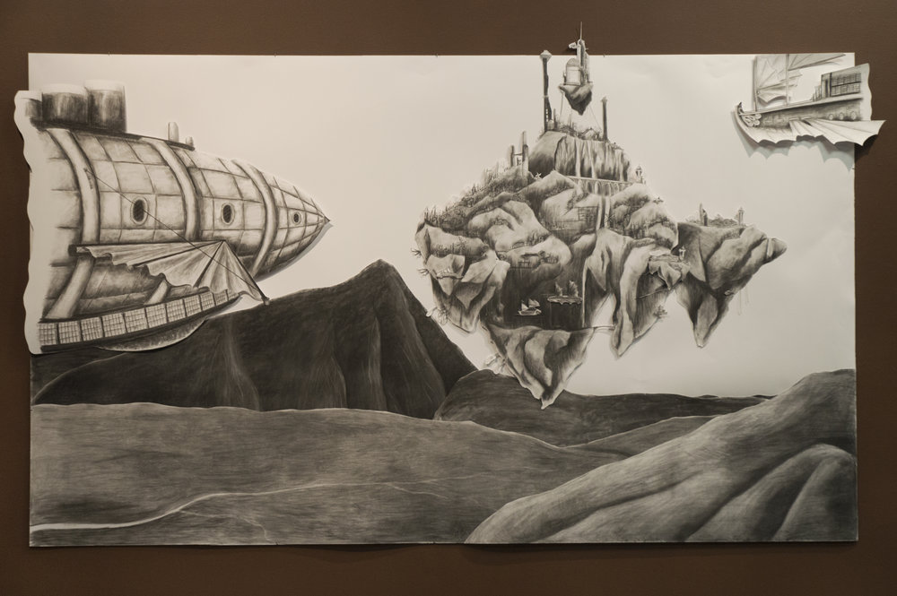 """The Legend of Valtura""  9' x 5' Charcoal on layered paper  Representation of Fire"