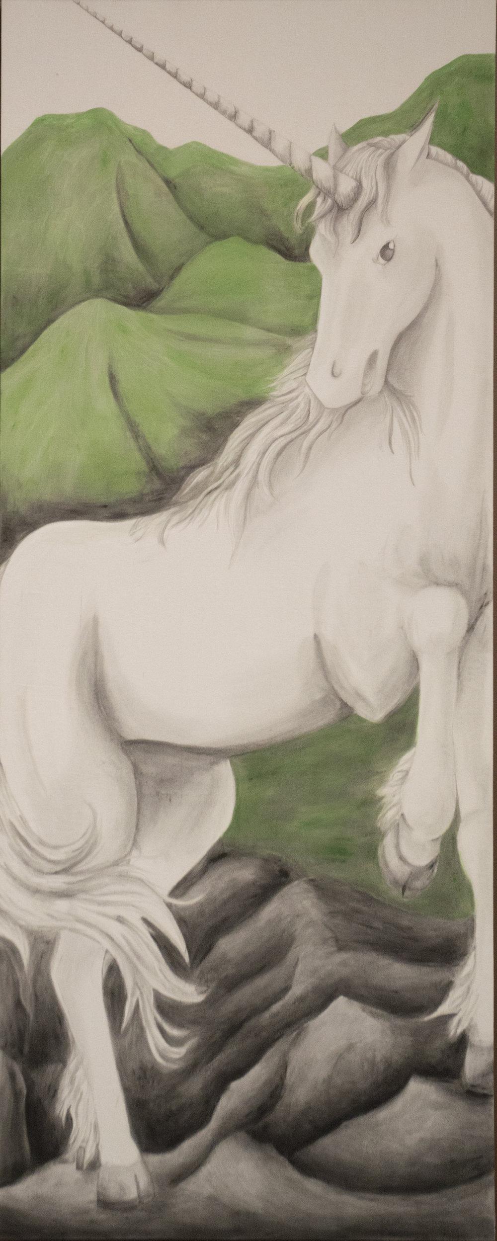 """Unicorn - Earth""  7'5"" x 3' Acrylic on duck cloth"
