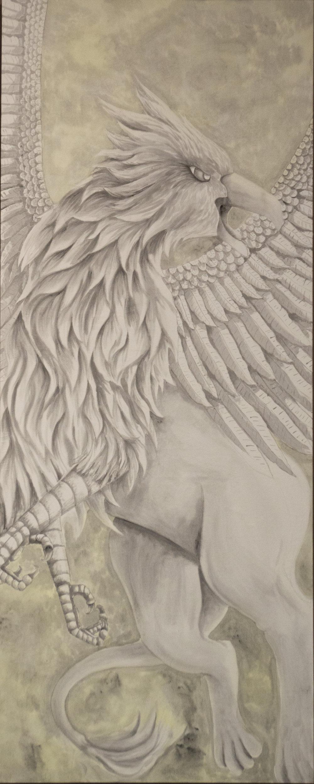 """""""Griffin - Air""""  7'5"""" x 3' Acrylic on duck cloth"""