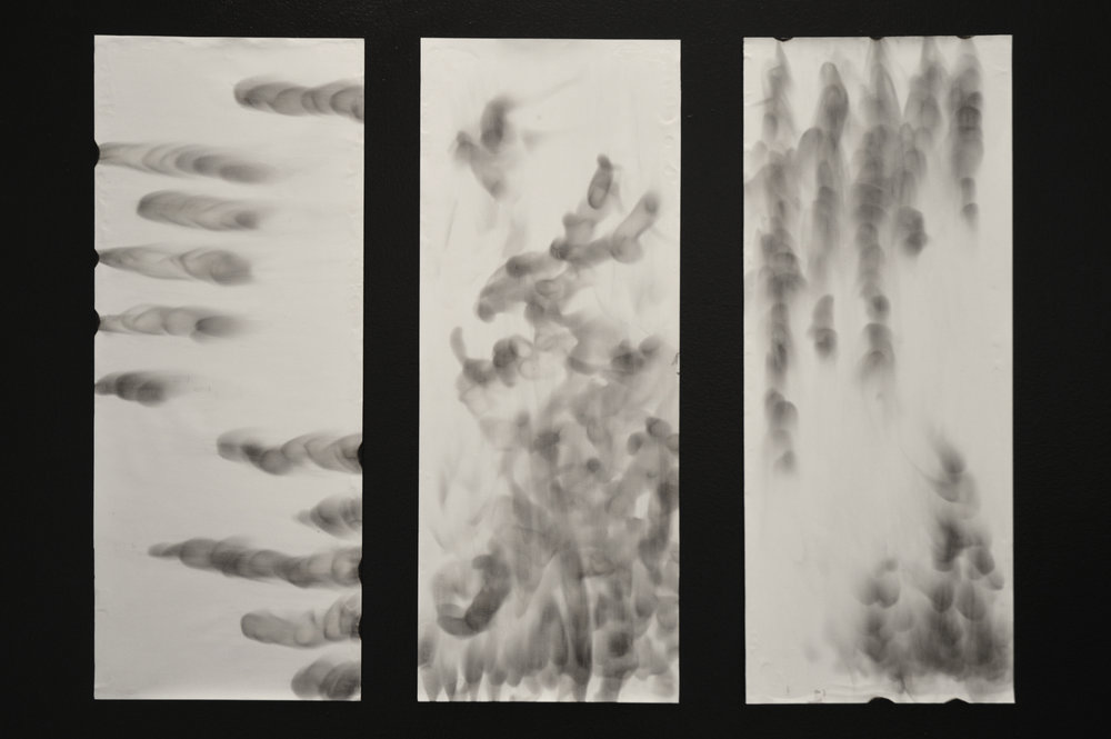 """""""A Study in Smoke""""  Candle smoke on paper, backed with wood Approx. 2' by 4' May 2015  Shown in  The Spectrum of Color  art gallery: California Baptist University"""