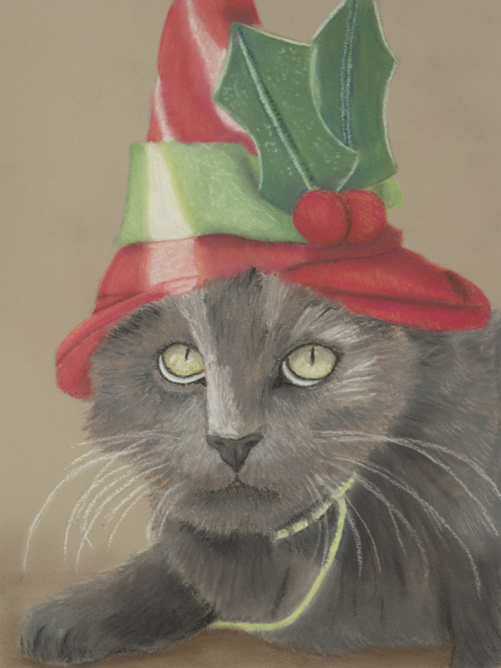 """""""Christmas Kitty""""  Oil pastel 9x12"""" March 2015"""