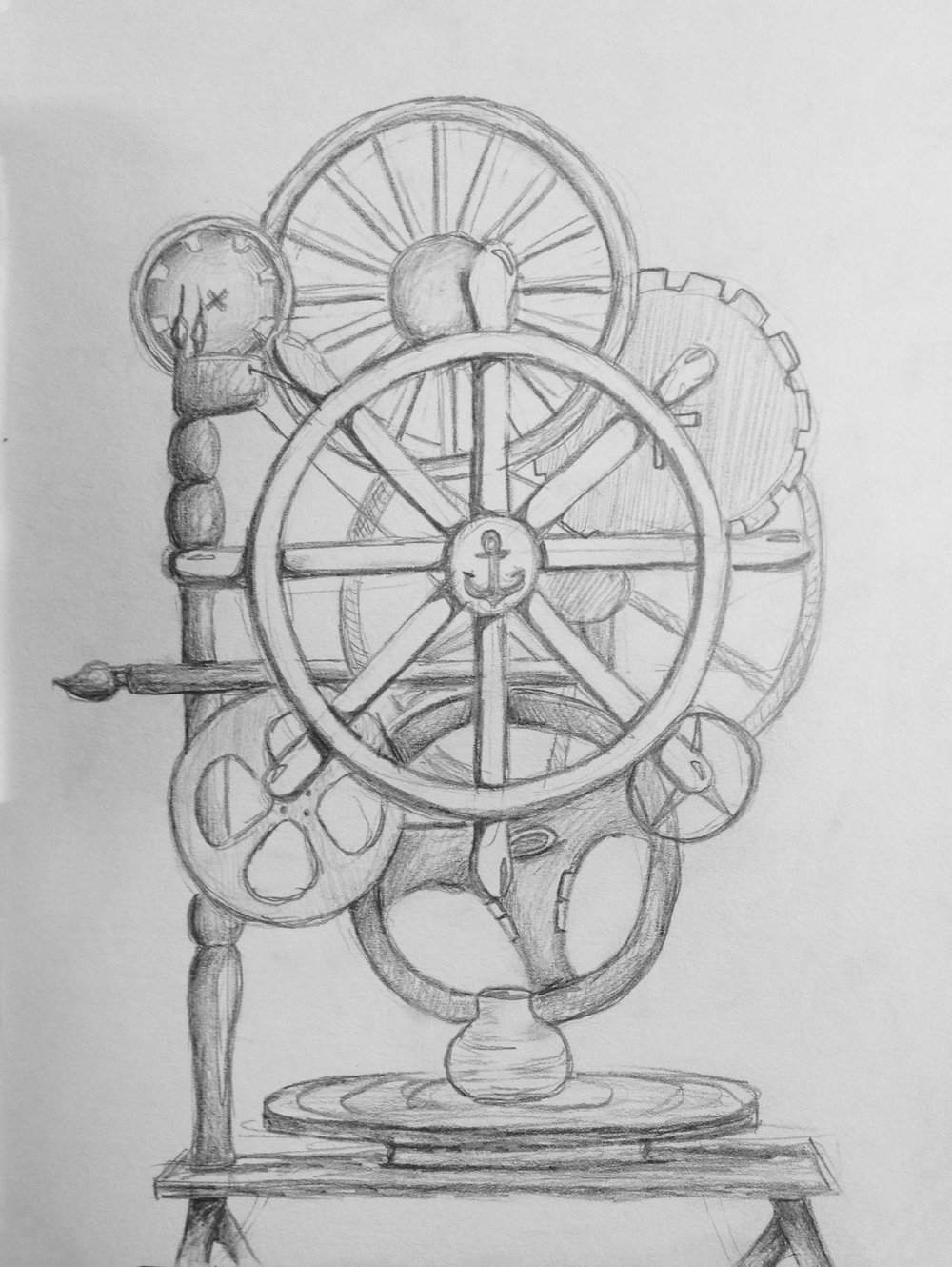 """Wheels""  Pencil on paper 5x7"" October 2014"