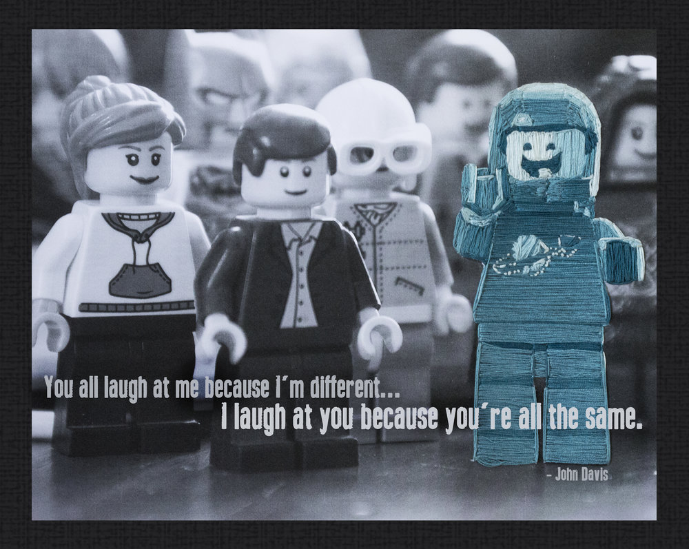 """""""Inspirational Legoman""""  Embroidery thread on black and white photo, digitally edited March 2016"""