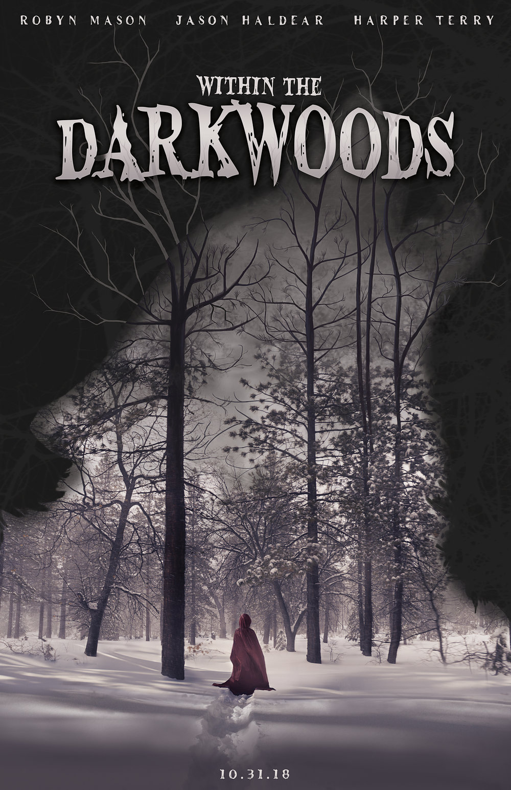 """""""Within the Darkwoods""""  Movie poster/photo composite, all photos self-taken March 2017"""