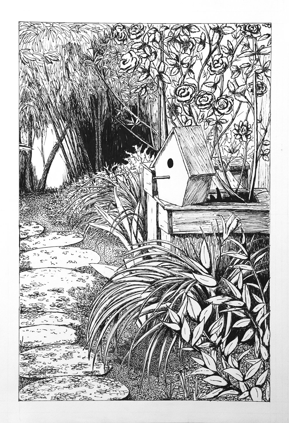 """The Garden""  Ink pens on paper 12x18"" November 2012"