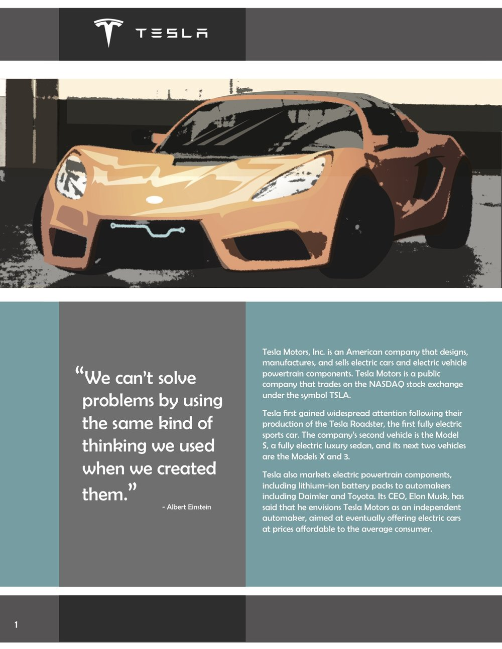 Mock annual report for Tesla - inside left page November 2014