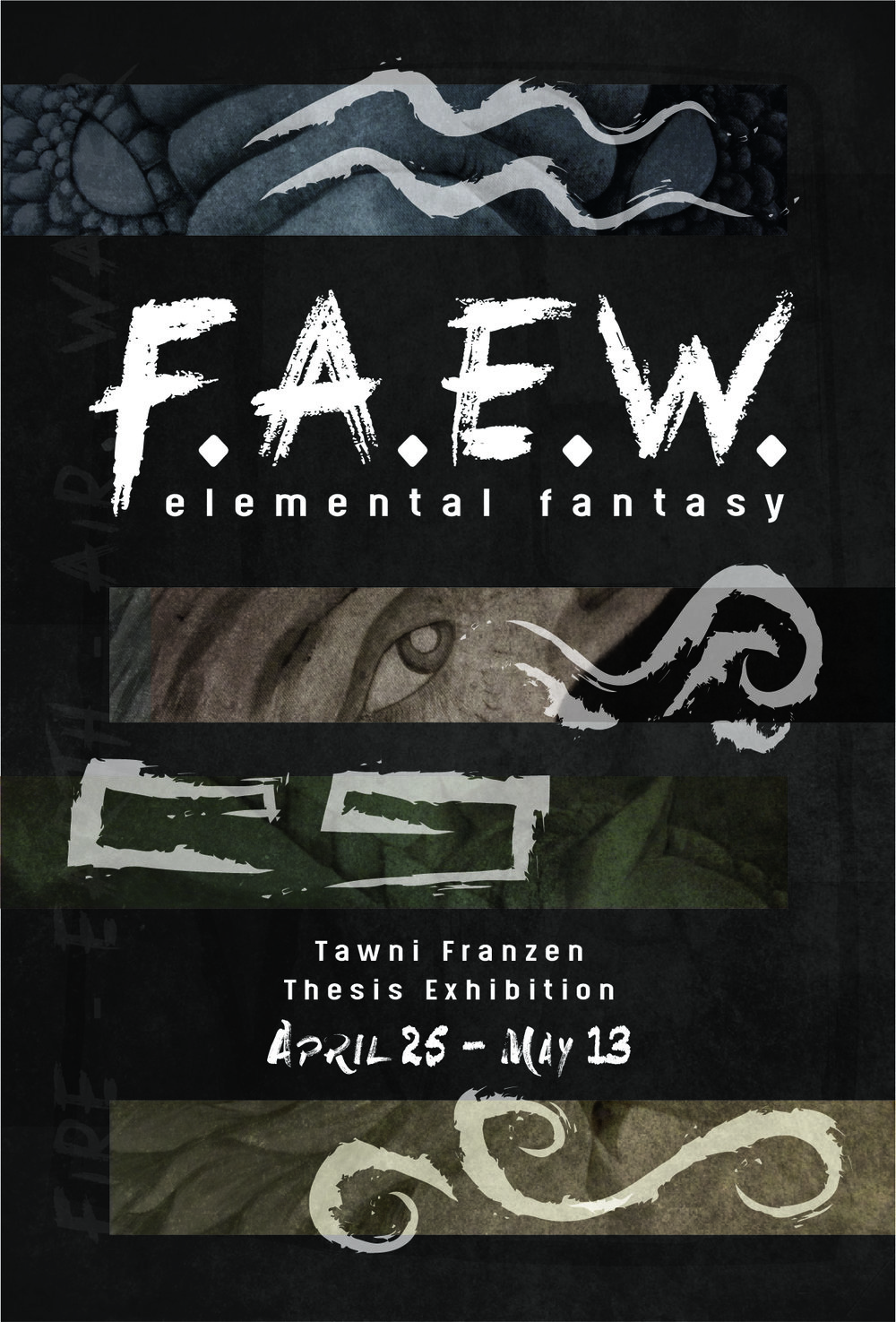 "Postcard front for ""F.A.E.W."" art gallery  April-May 2017"