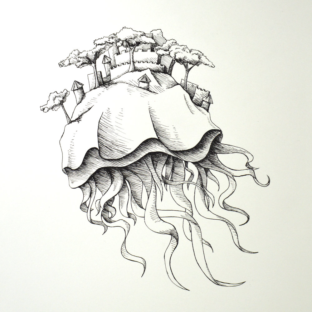 """Inked Sky Jellyfish""  India ink 11x14"" September 2018"
