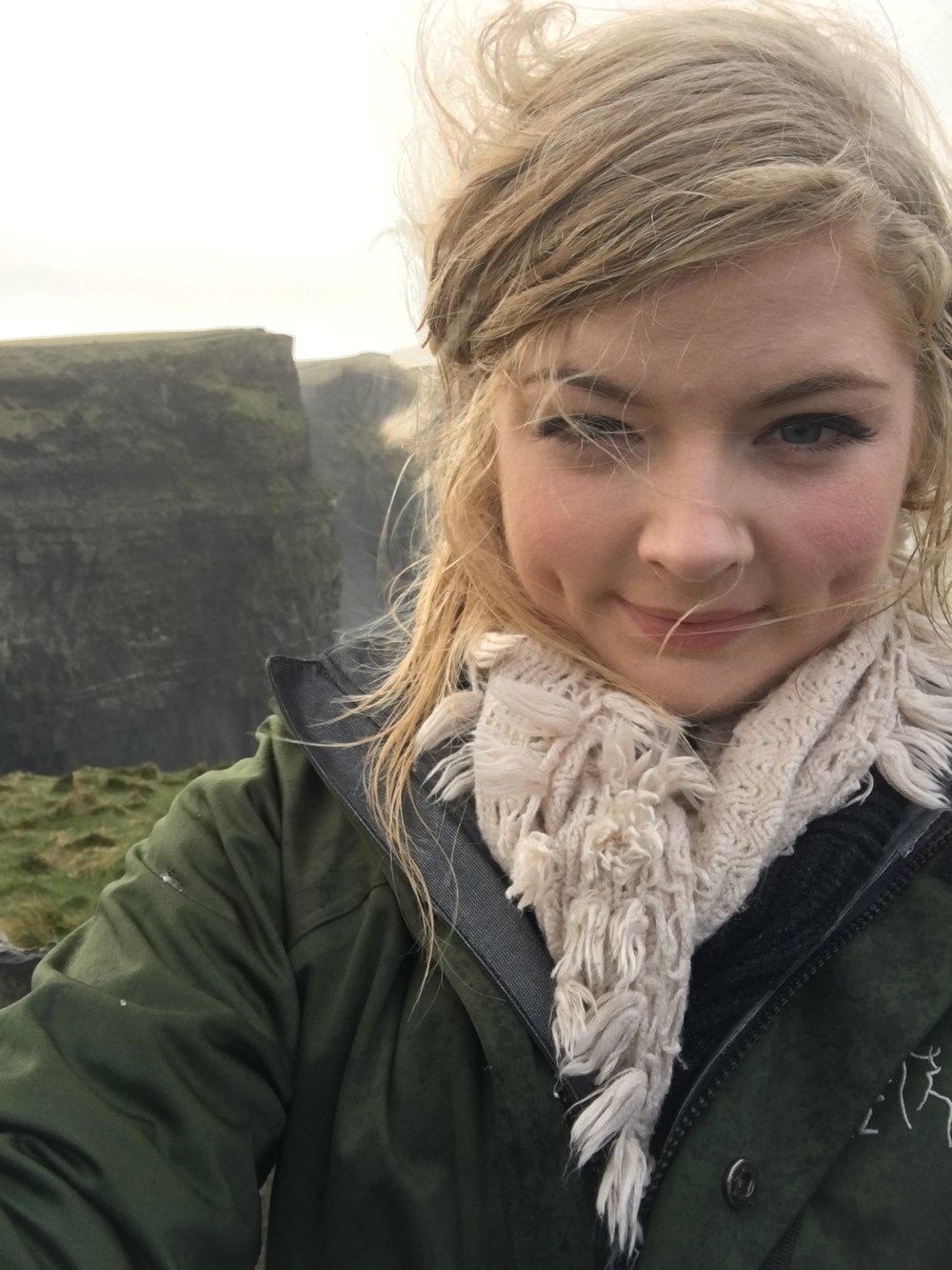 Wind blown, rained drenched, freezing — but happy. Cliffs of Moher, Ireland, 2016