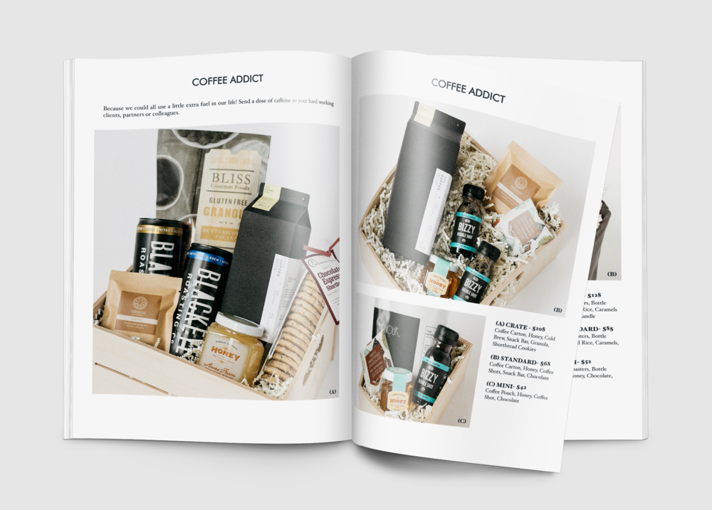 The Corporate Catalog sent to potential clients showcasing our custom gift sets.
