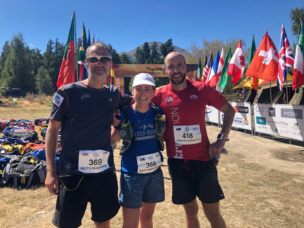 First across the line today in the Anchor Milk Otago Alps 2 Ocean Ultra (Left to right) Keith Burrows (supported), Katy Anderson (supported and Tim Franklin (unsupported).