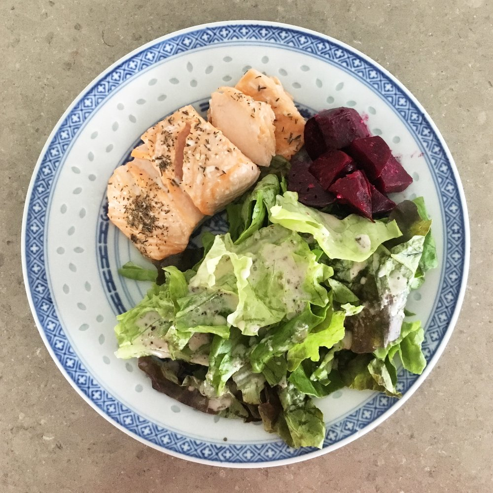 Pictured above with salad and beets
