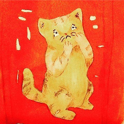 Anxious! #kitty #illustration #neko #catsofinstagram #drawing #anxiety #イラスト #かわいいねこ #可愛い #猫