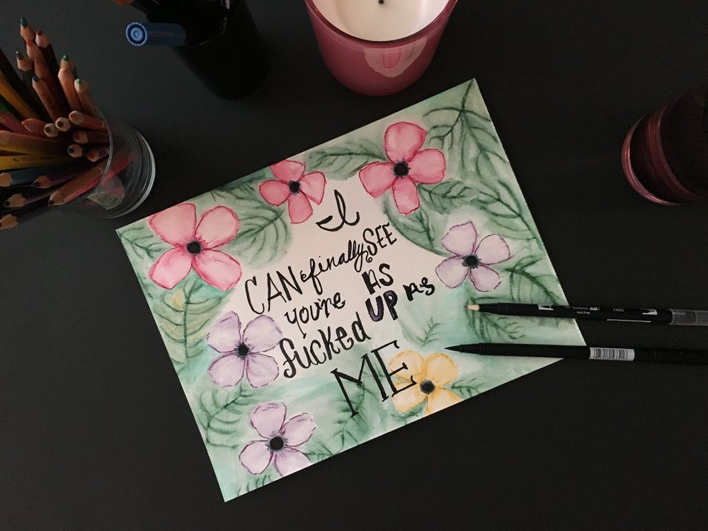 """Yeah, I'm sick of losing soulmates, won't be alone again    I can finally see, you're as fucked up as me    So how do we win?    Lyrics: Sick Of Losing Soulmates, Dodie.    Tombow Dual Brush Pens   These are the pens that have been the Instagram craze for the last year or two as """"lettering"""" has become increasingly popular. But, combined with the above watercolor brush pens, they contain many stylistic possibilities."""