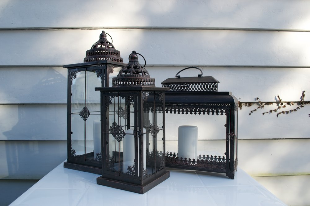 lanterns x3 *candles not included - large $20, medium $15, square $15