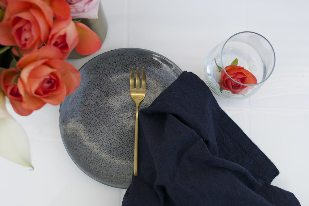 set of napkin, plate, gold fork and glass x12