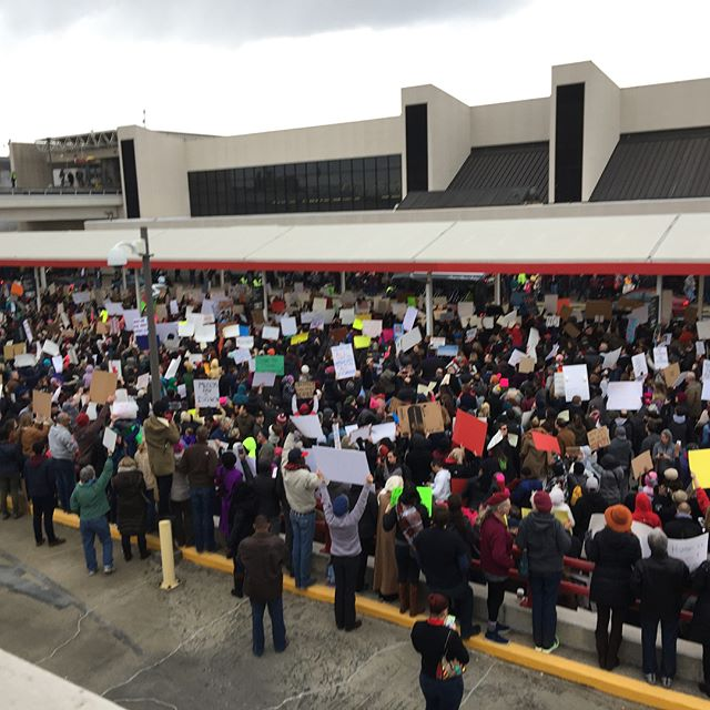 One year ago today we the people took to the word's busiest airport to resist the first iteration of the Trump Muslim Ban. Pic 8 of the brothers praying is my favorite. It's not often that we are comfortable to pray in public. #nobannowall #resist #1loveatl #fourofour #worldsbusiestairport #hartsfieldjackson #atl #atlanta #weloveatl #prayinpublic #atlantamuslims #iloveatl #prayworkbike #notrumpnokkknofascistusa #notrump #weareallamericans #americanmuslims