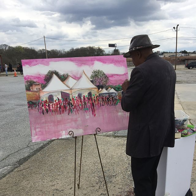 Blessed to watch the legendary Gilbert Young @gilbertyoungart paint at the Pittsburgh Yards groundbreaking ceremony today (swipe 👈🏼). Exciting time for Pittsburgh and the surrounding Southside ATL communities. We hope Pittsburgh Yards serves as a catalyst for positive change. Cool experience for me was interviewing some residents using Story Corps app 😎 #1loveatl #pittsburghyards #atl #atlanta #atlantabeltline #southsidetrail #gilbertyoung #pittsburghatl #swats #swatl #exploreatl #discoveratl #weloveatl #iloveatl #fourofour #prayworkbike #storycorps