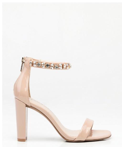 Embellished Patent Ankle Strap Sandal