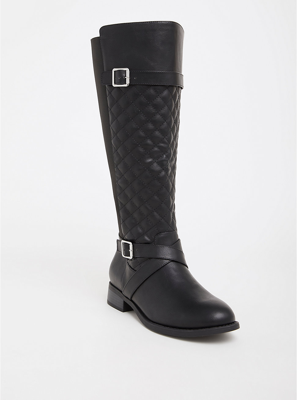 Black Quilted Faux Leather Knee Boot - Torrid ($74.90 CAD)