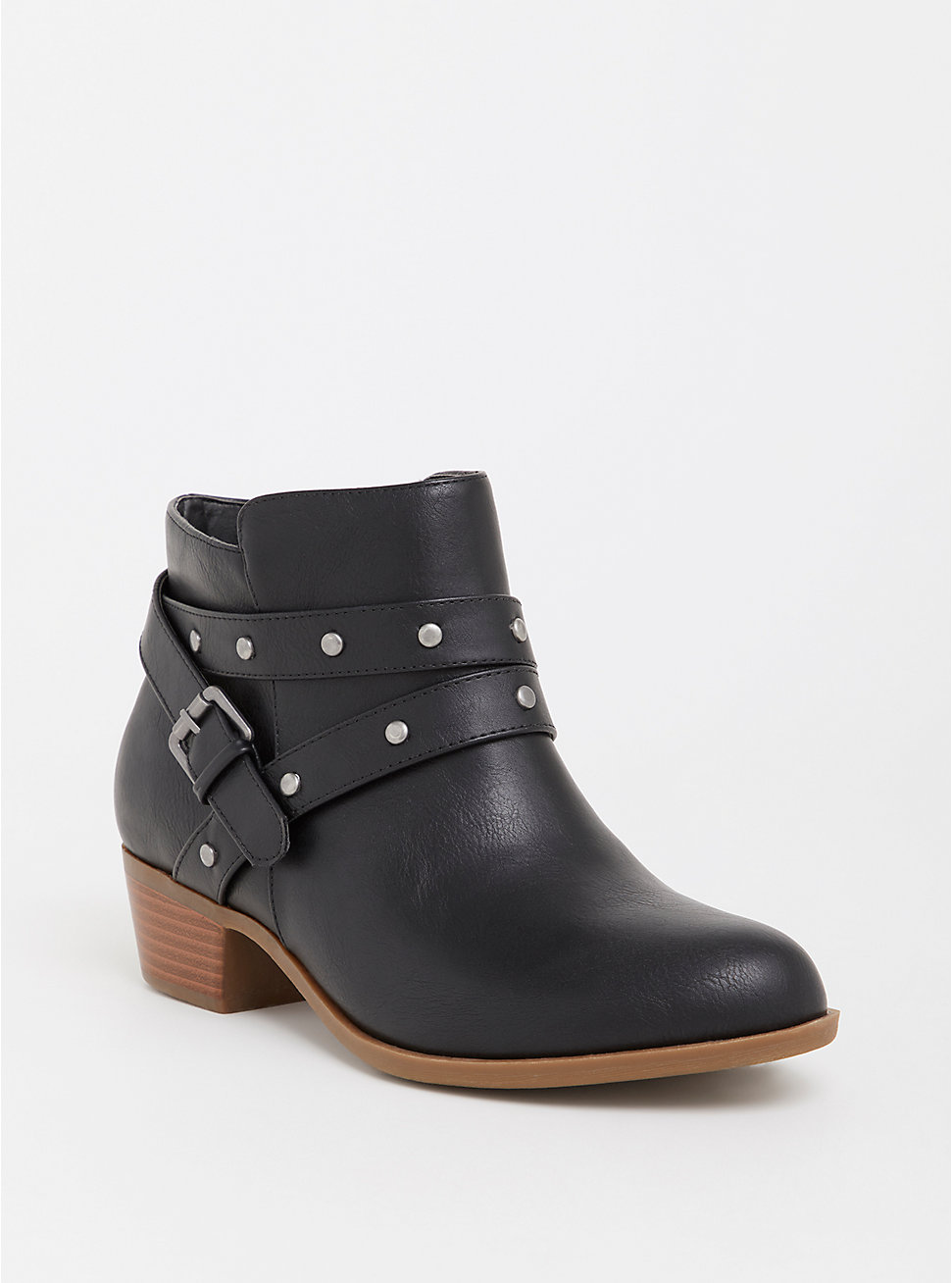 Black Studded Faux Leather Bootie - Torrid ($64.90)