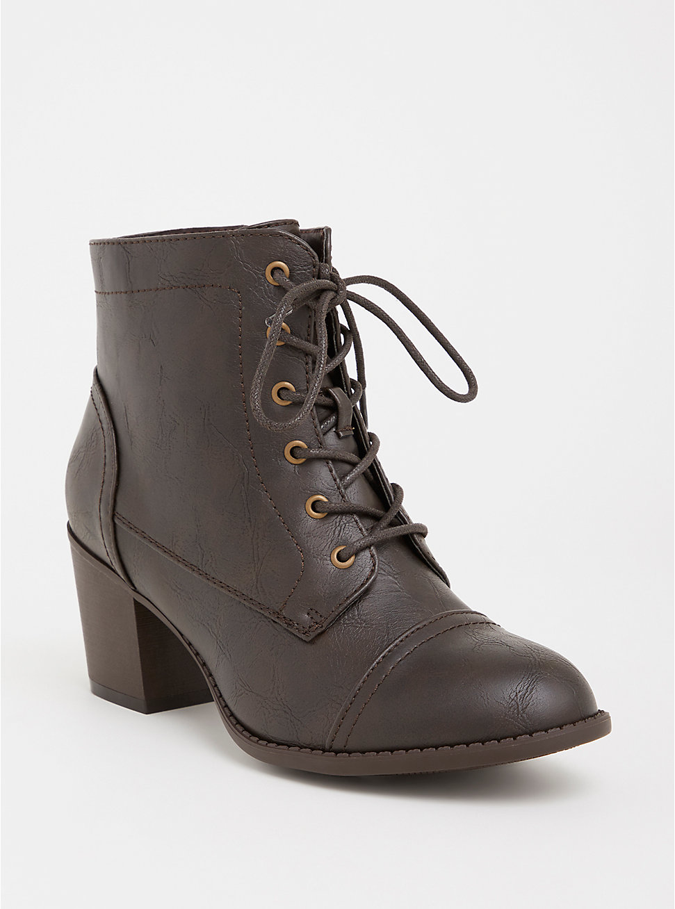 Brown Lace-Up Heel Bootie - Torrid ($64.90 CAD)