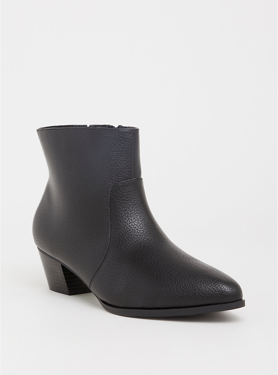 Black Faux Leather Pointed Bootie - Torrid ($64.90)