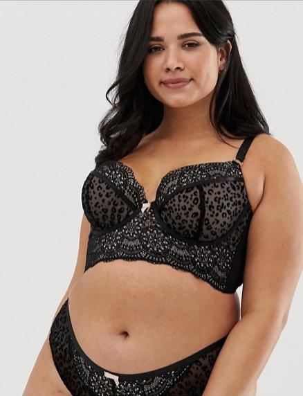 New Look Curve longline bra in black animal print ($36 CAD)