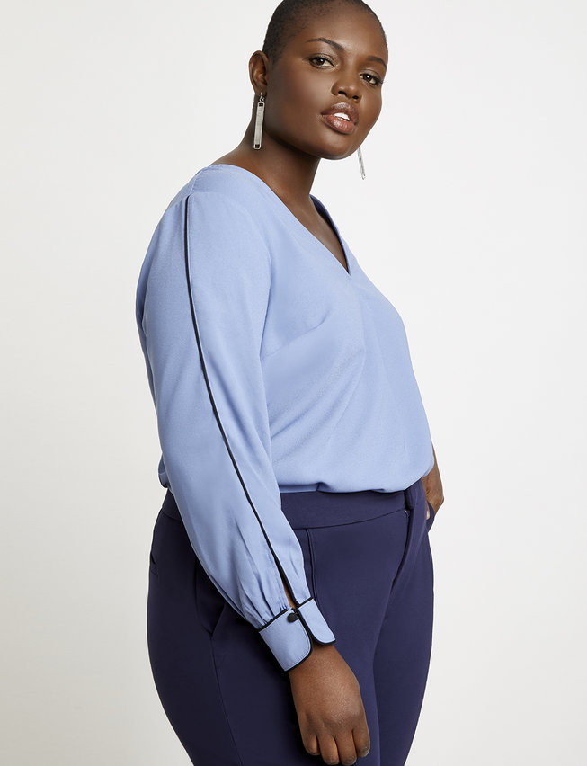Eloquii- 9 to 5 Pleat Front Top ($49.95 USD)