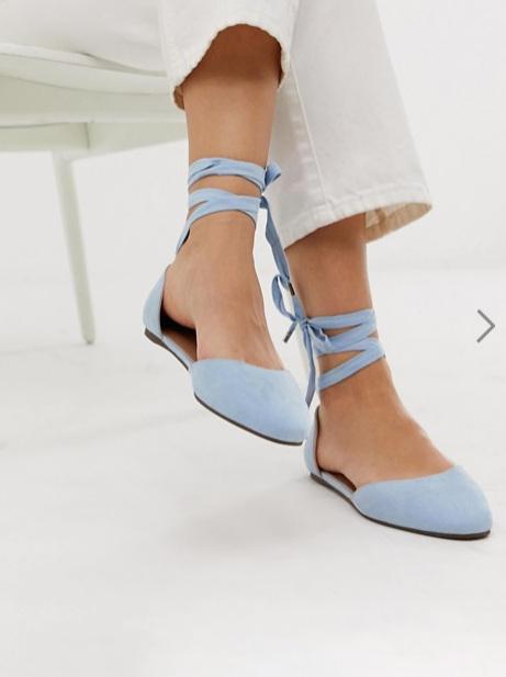 ASOS DESIGN - Wide Fit Voyage square toe ballet flats in blue ($37.87 CAD)