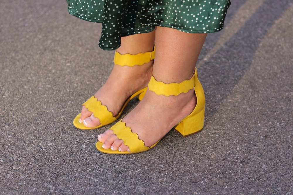 Yellow heels addition elle wide fit shoes - Sara Sohail (The Prep Gal)
