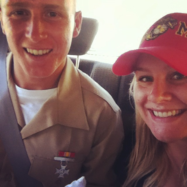 The happy happy day that my little brother Captain America graduated from Marine Corps bootcamp.