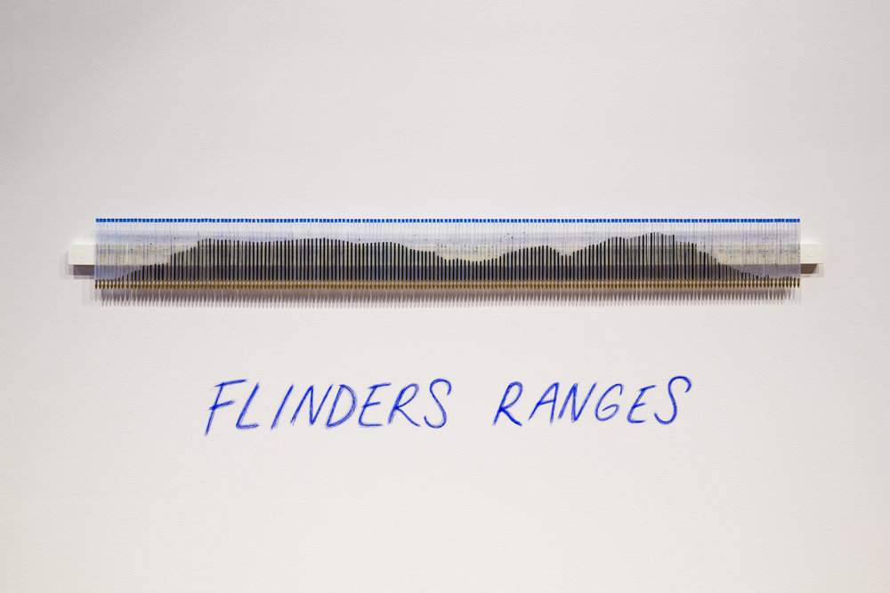 Image: Kylie Stillman, Flinders Ranges, 2016, wall mounted installation, blue ballpoint pens, 40 x 150 cm. Represented by Utopia Art Sydney. Courtesy Anne & Gordon Samstag Museum of Art, University of South Australia. Photograph by Sam Noonan.