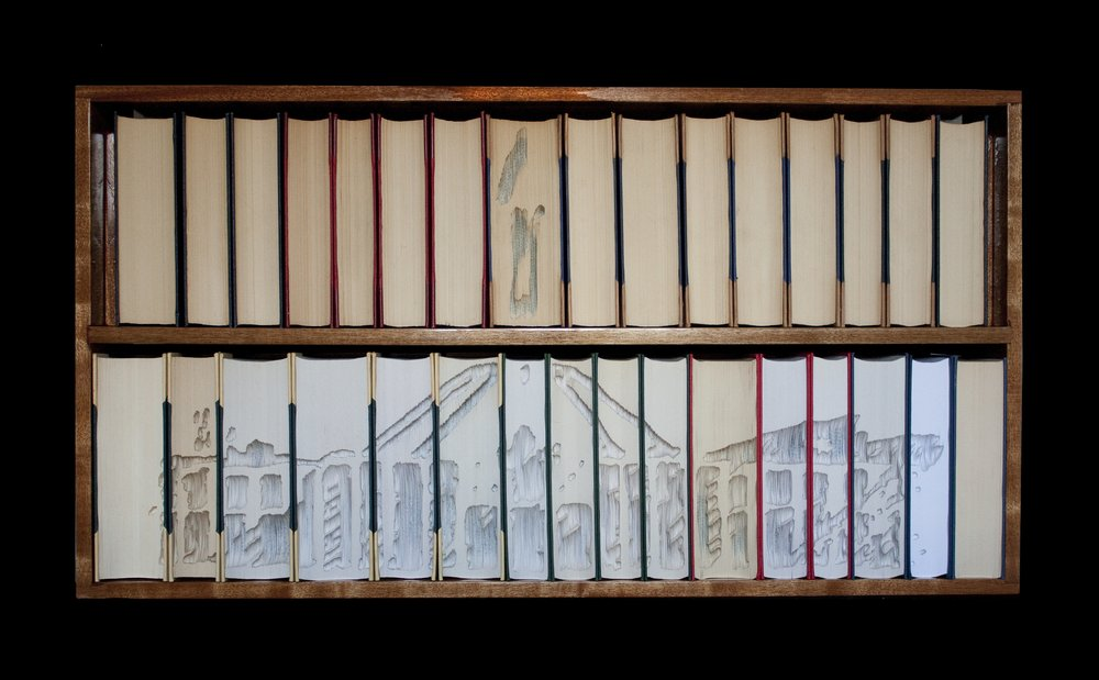 Kylie Stillman 'Parliament House afternoon shadow' 2018 Hand-cut books and timber 110 x 55 x 20 cm