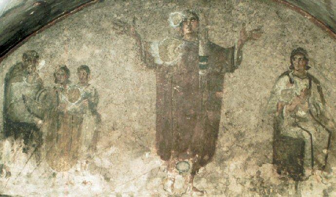 Siguiendo la costumbre judía, los primeros cristianos oraban con las manos levantadas al cielo.