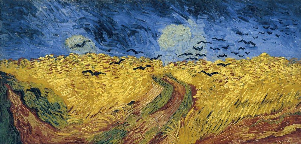 Trigal con cuervos, Vincent Van Gogh  Este cuadro de Van Gogh me recuerda de las parábolas de Jesús sobre el reino de Dios.