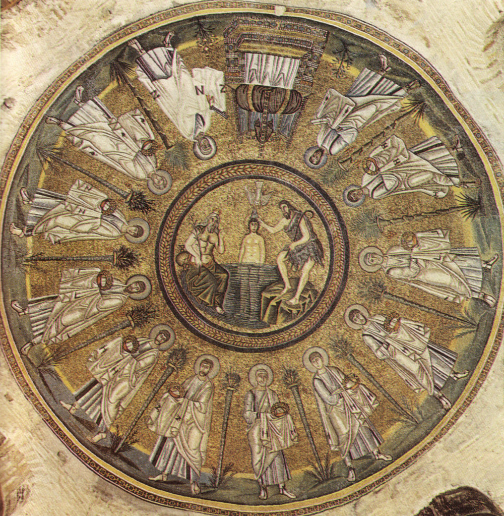 Un fresco del bautisterio de la iglesia de Ravenna, Italia