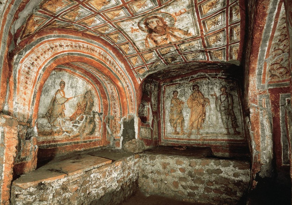Arte cristiano en las catacumbas