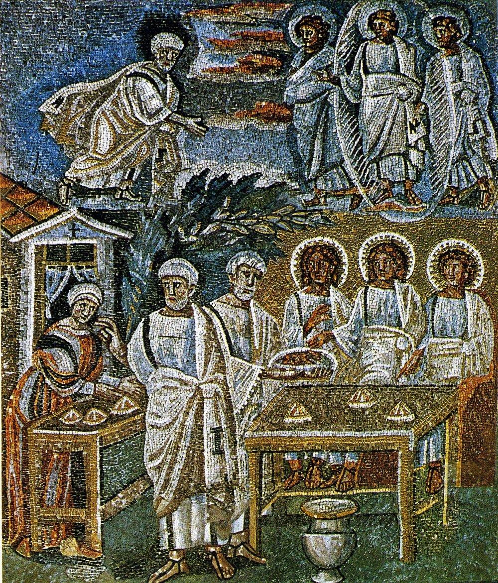 Abraham y los ángeles, mosaico en la Basílica de S. María Maggiore, Roma.