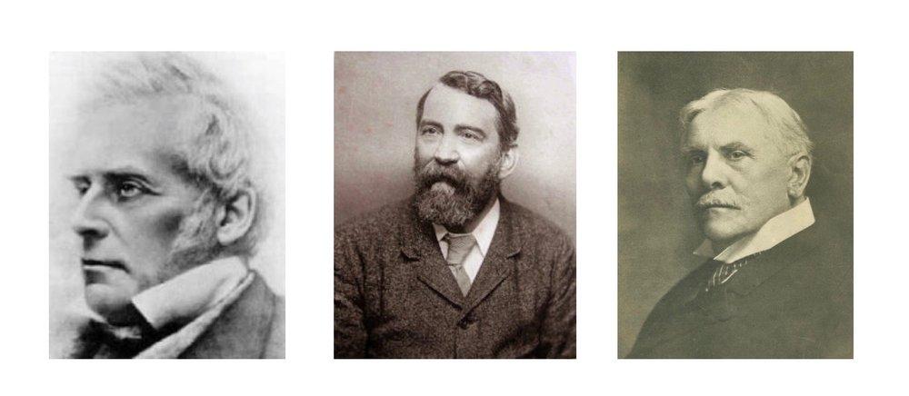 John Nelson Darby, Dwight L. Moody y C.I. Scofield, los primeros grandes predicadores de la teología dispensacionalista en Europa y Estados Unidos en los siglos XIX y XX.
