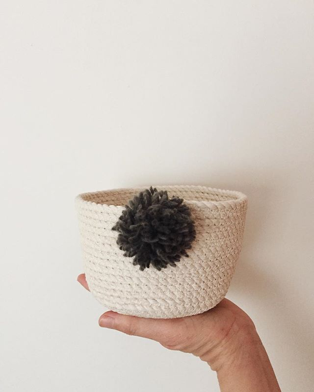 last winter i started playing with rope, should i add these mini pompom baskets to the shop? ✨