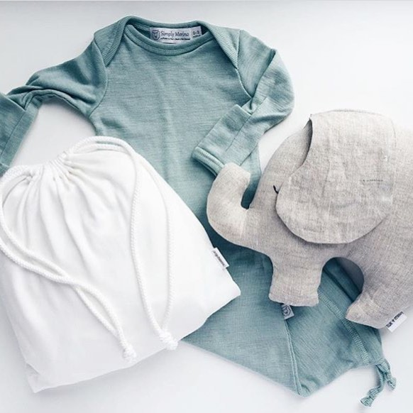 a linen elephant for @numpfer  paired beautifully with her ultra soft crib sheets + a @simply_merino sleeper. #newbaby