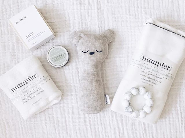 gathering beautiful products for our little one. + our linen bear rattles make a lovely new baby gift.