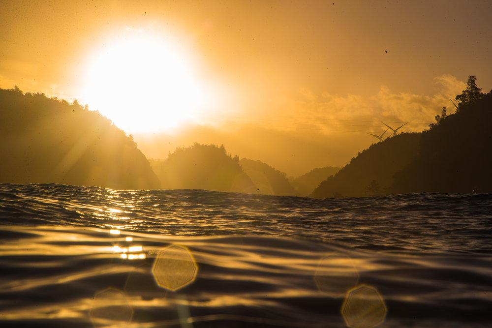 Sunrise over Waimea Bay Oahu