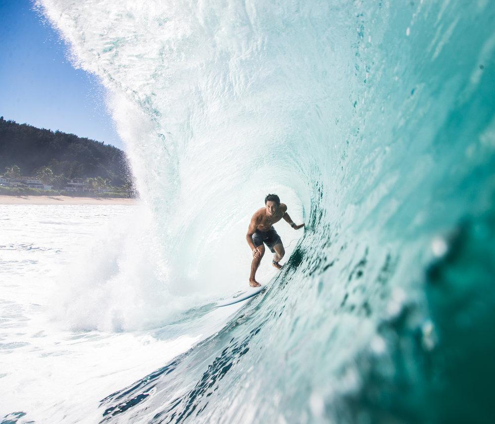 Quicksilver surfer Connor O'Leary big barrel at Pipeline