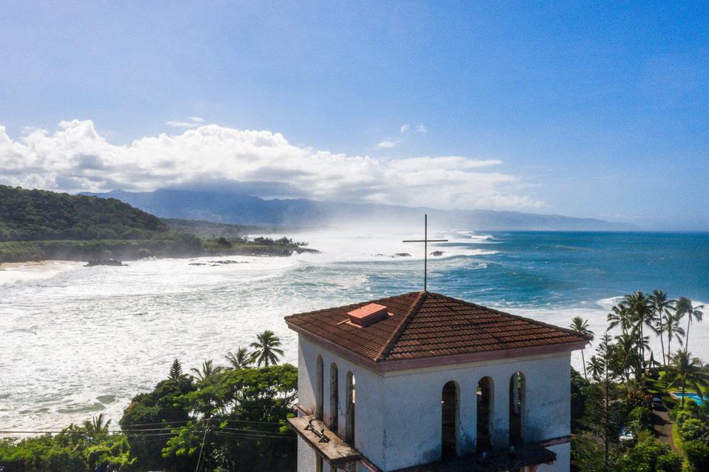 Waimea Bay church tower drone shot