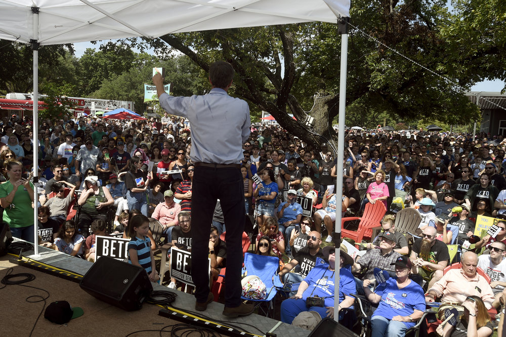 Senate candidate Beto O'Rourke speaks to Denton County residents Saturday during a town hall event at Backyard on Bell in Denton, Texas. Estimates claim as many as 2,500 people attended the rally. Jake King/DRC